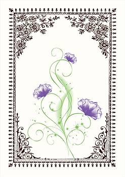 Vintage Purple Flower 2 with Brown Border by Jannina Ortiz