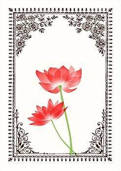 Vintage Red Flower 1 with Brown Border by Jannina Ortiz