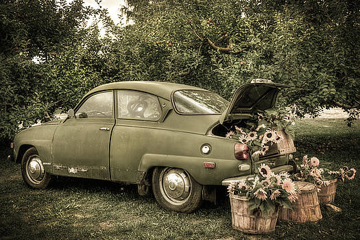 Vintage Saab and Sunflowers by Joann Vitali