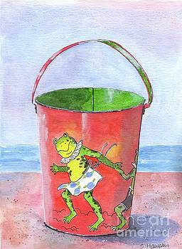 Vintage Sand Pail Dancing Frogs by Sheryl Heatherly Hawkins