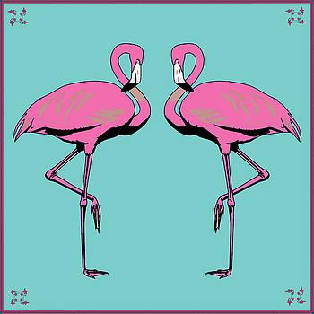 Vintage Twin Flamingoes  by Joy McKenzie