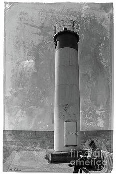 Vintage Whitby Lighthouse by Nina Silver