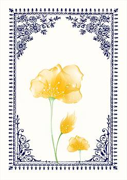 Vintage Yellow Flower 3 with Blue Border by Jannina Ortiz