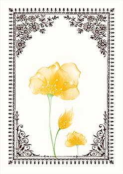 Vintage Yellow Flower 3 with Brown Border by Jannina Ortiz