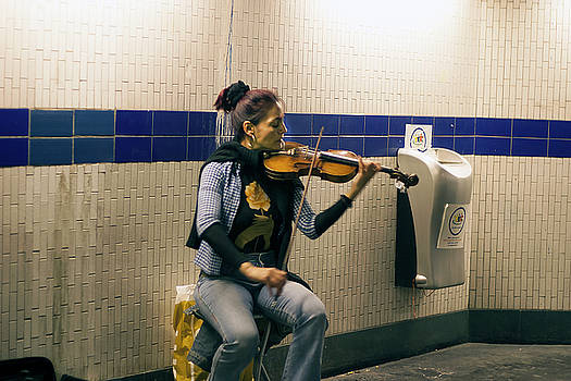 Violinist in Paris Metro by Carl Purcell