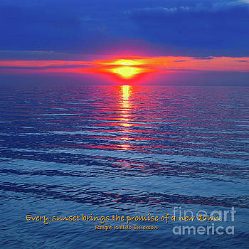 Vivid Sunset - Emerson Quote - Square Format by Ginny Gaura