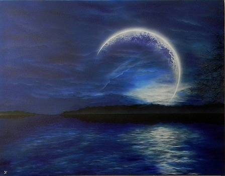 Vyshtinec lake moon by Alexander Bukhanov