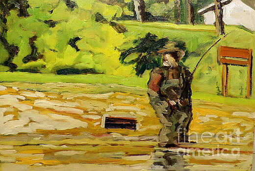 Waders on the Mississinew Reservoir framed plein air by Charlie Spear