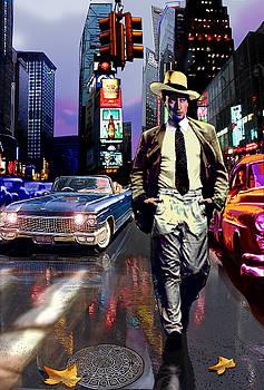 Waine walking in Times Square by Jose Roldan Rendon
