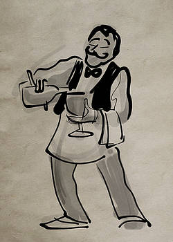 Waiter Pouring Wine by Ray Hofstedt