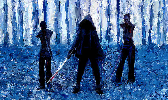 Walking Dead Michonne Art Painting Signed Prints available at laartwork.com Coupon Code KODAK by Leon Jimenez