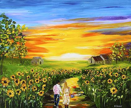 Walking Through the Sunflowers by Kevin Brown