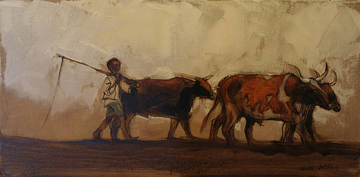 Walking with the cattle by Alida Bothma