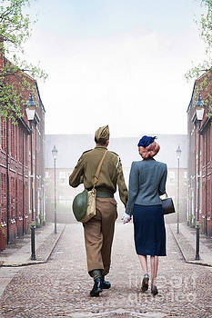 Wartime Couple On A Cobbled Road by Lee Avison