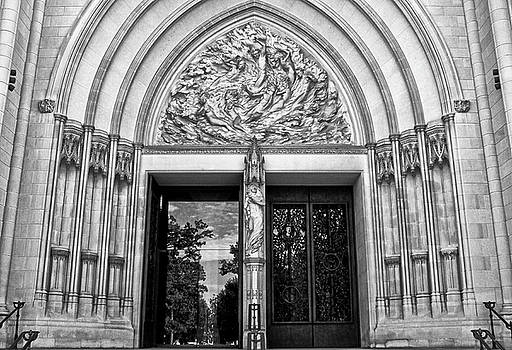 Washington Cathedral Entrance 001 bw by George Bostian