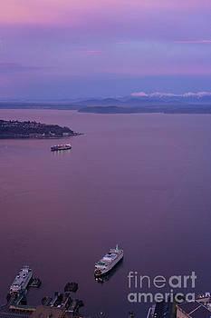 Washington State Ferry Sunrise Light by Mike Reid