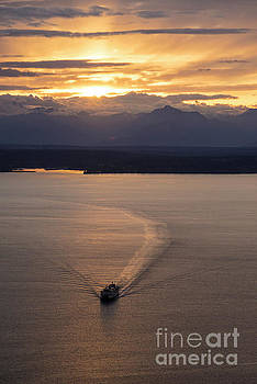 Washington State Ferry Sunset by Mike Reid