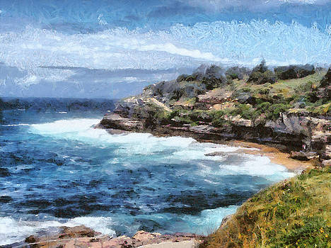 Water cove with rocky cliffs by Ashish Agarwal