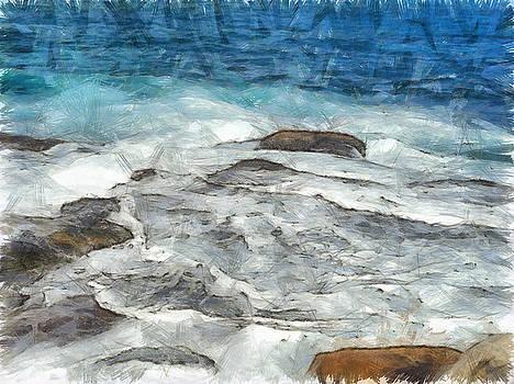 Water furiously covering rocks by Ashish Agarwal