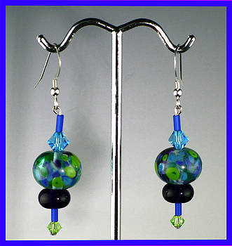 Water Lily Lamp work Beads with sterling and Swarovski crystals by Cheryl Brumfield Knox