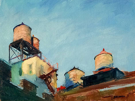 Water Towers at Sunrise No. 1 by Peter Salwen
