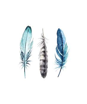 Watercolor Feathers by Jaime Friedman