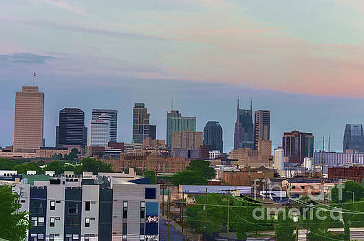 Watercolor Nashville Skyline during the evening sun by Photo Captures by Jeffery
