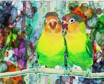 Watercolor Neon Parrots Bird Painting Watercolor Abstract by Robert R Splashy Art Abstract Paintings
