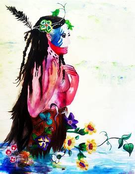 Watercolor of Chippewa in the Water by Ayasha Loya by Ayasha Loya