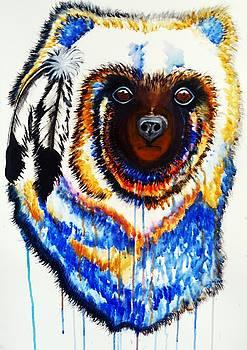 Watercolor Painting of Spirit of the Bear by Ayasha Loya by Ayasha Loya