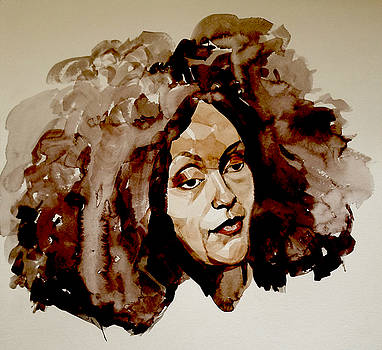 Watercolor Portrait of a Woman with Bad Hair Day by Greta Corens