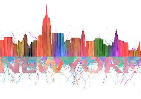 Watercolor  Splashes Colored Folded Paper New York Skylines by Georgeta Blanaru