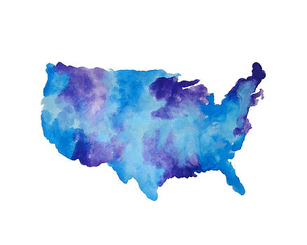 Watercolor USA Map by Michelle Eshleman