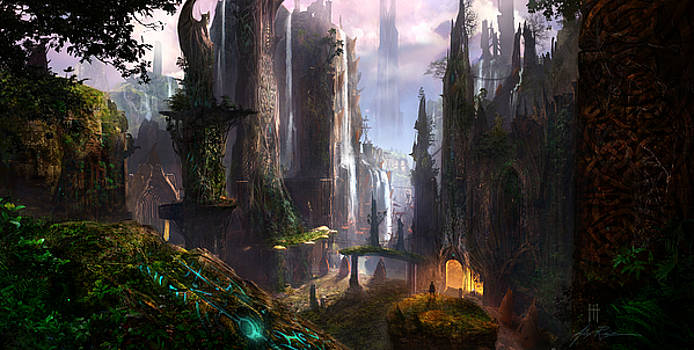 Waterfall Celtic Ruins by Alex Ruiz