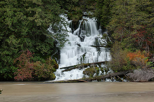 Waterfall flowing into the Klickatat river by Jeff Swan