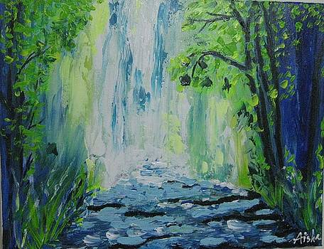 Waterfall in the wilderness by Aisha Khan