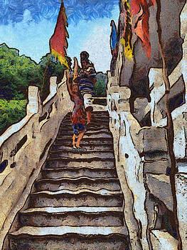 Waving from the steps by Ashish Agarwal