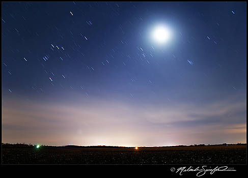 Waxing Crescent Moon and Star Trails by Melinda Swinford