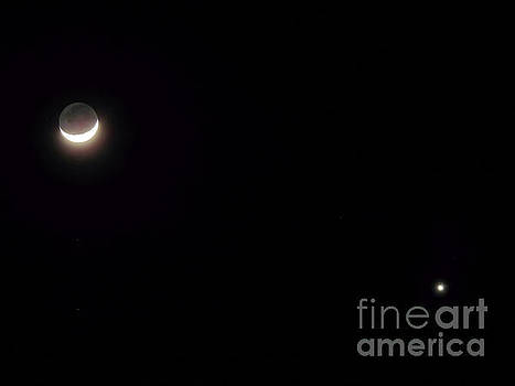 Waxing Moon With Venus by D Hackett