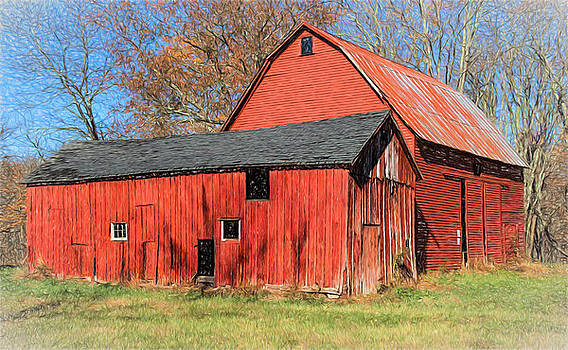 Weathered Red Barn by David Letts