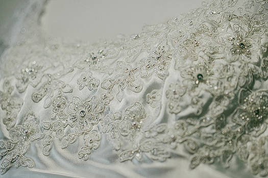 Wedding Dress Floral Beadwork by Amber Flowers