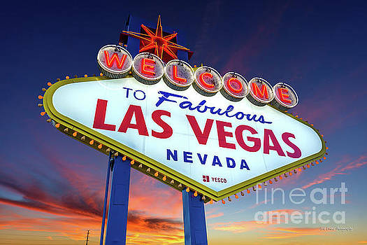 Welcome to Las Vegas Sign at Dawn Wide by Aloha Art