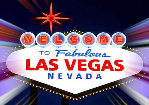 Welcome to Las Vegas Sign at Night by Mike Rabe