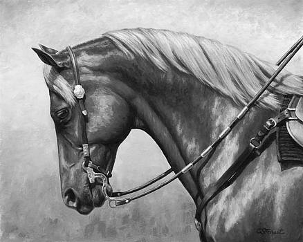 Western Horse Black and White by Crista Forest