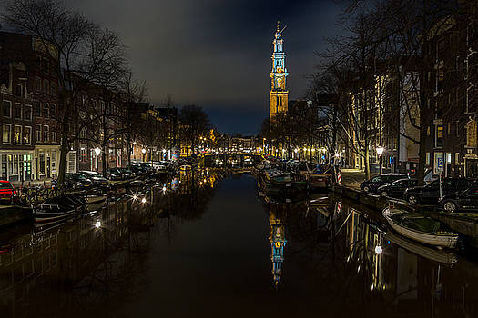 Westkerk Reflecting on the Prinsengracht by John Daly