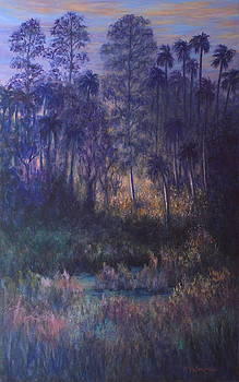 Wetland Marsh Sunset Trees Palm Trees Painting and Prints by Amber Palomares