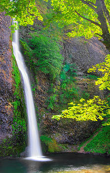 When Light and Water Falls - Horsetail Falls #3B - Columbia River Gorge National Scenic Area, Oregon by Michael Mazaika