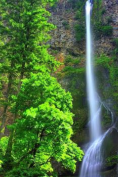 When Light and Water Falls - Multnomah Falls #16 - Columbia River Gorge National Scenic Area, Oregon by Michael Mazaika