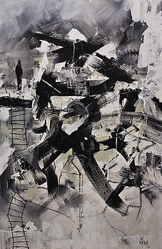 Where I Am Original Black and White Abstract Acrylic Painting on Canvas by Gray  Artus