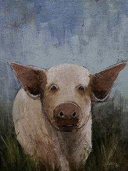 Whimsical Farm Animal PIG ORIGINAL PAINTING on Gallery Wrapped Canvas by Gray  Artus